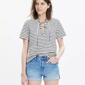 Madewell Striped Lace Up Tee
